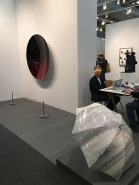 """Anish Kapoor, """"Mirror (Black to Red Brandy Wine)""""; Ai Weiwei, """"Shelter"""""""