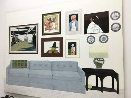 "Becky Suss, ""Living Room (Six paintings, four plates"""